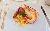 Pappardelle with fresh lobster — Stock Photo