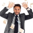 Happy man enjoying the rain of money — Foto Stock