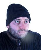 Man in hypothermia on a white background — Stock Photo
