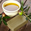 Aleppo soap and Olives — Stock Photo
