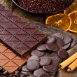 Chocolate with sliced dried orange and cinnamon sticks - Stock Photo