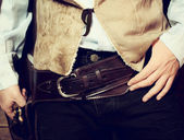 Western gun belt with Colt — Stock Photo