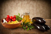 Ingredients of Pasta alla Norma — Stock Photo