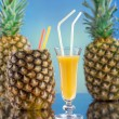 Pineapple and juice glass  — Stock Photo