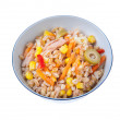 Spelt salad with tunna carrots peppers corns and olives — Stock Photo