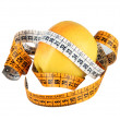 Diet concept with green apple wrapped with measuring tape - Stock Photo