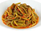 Green bean with tomato sauce — Stock Photo