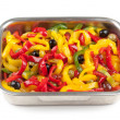 Roasted peppers with black olives — Stock Photo