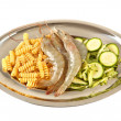 Ingredients for pasta with zucchini and shrimp — Stock Photo
