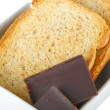 Stock Photo: Chunks chocolate with crispbread