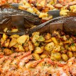 Fish with shrimp and potatoes — Stock Photo