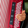 Closeup detail of hands playing a red accordion instrument - Stock Photo