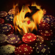 Poker cards burn in fire — Stock Photo #25358271