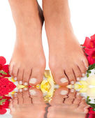 Feet qnd roses — Stock Photo