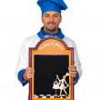Handsome chef with menu isolated — Stock Photo