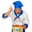 Handsome chef with pot isolated — Stock Photo