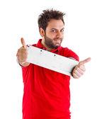 Hombre mostrando un giro italiano — Foto de Stock