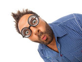 Wow expression with eye glasses — Stock Photo