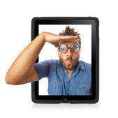 Wow expression with tablet — Stock Photo