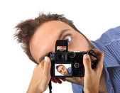 Wow expression in camera — Stock Photo