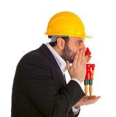Biznesmen z pinokio — Zdjęcie stockowe