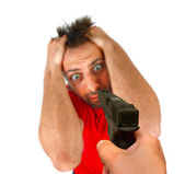 Man threatened with a gun — Stock Photo