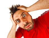 Wow expression with red t-shirt — Stock Photo