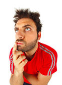 Man who thinks with red t-shirt — Stock Photo