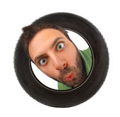 Wow expression in the car tire — Stock Photo