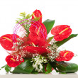 Stock Photo: Basket of red anthurium flowers