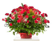 Basket with fifty red roses — Stock Photo