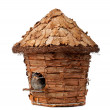 Birdhouse with little sparrow — Stock Photo