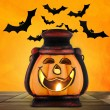 Pumpkin lantern with candle — Stock Photo