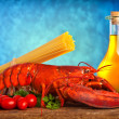 Recipe of lobster with linguine — Stock Photo