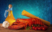 Recipe of lobster with linguine — Zdjęcie stockowe