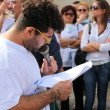 """Marcia per la vita"" in Mondragone, Italy. Protest of the people — Foto Stock"