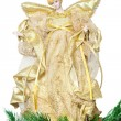 Tip in the shape of angel on top of the Christmas tree — Stock Photo