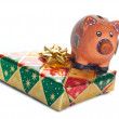 Colorful gift boxes with piggy bank — Stock Photo