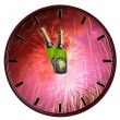 Clock with bottle of champagne waiting for midnight — Stock Photo