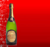 "Bottle of champagne with label ""Merry Christmas"" — Stock Photo"