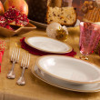Table with decorations for Christmas dinner — Stock Photo