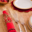 Stock Photo: Silverware and napkin for Christmas table
