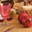 Detail of a glass of Murano in a Christmas table — Stock Photo