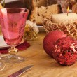 Detail of a glass of Murano in a Christmas table — Stock Photo #34169707