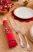 Silverware and napkin for the Christmas table — Stock Photo