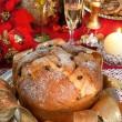 Panettone, traditional Italian Christmas cake — Stock Photo #34255823