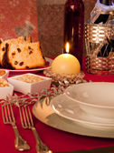 Table decorated for Christmas dinner — Stock Photo