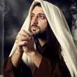 Jesus praying and looking up to heaven while he cries — Stock Photo