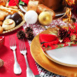 Decorated Christmas Dinner Table Setting — Stock Photo #34472369