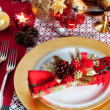 Decorated Christmas Dinner Table Setting — Stockfoto
